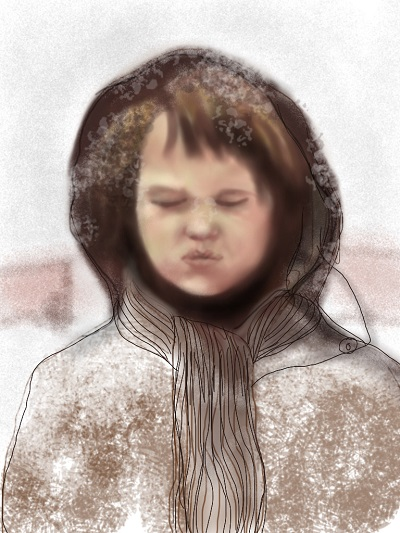 iPad drawing ~ Catching Snowflakes in 1977 ~ number 360 of 365